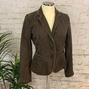 Vintage J.Crew Distressed Brown Cotton Blazer